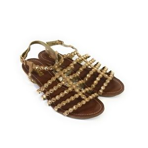 CARLOS SANTANA Tan Suede Studded Wedge Sandals 6